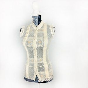 Guess Jeans Short Sleeve Lace Button Top S